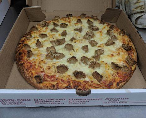 Spaghetti & Meatball Parm Pizza